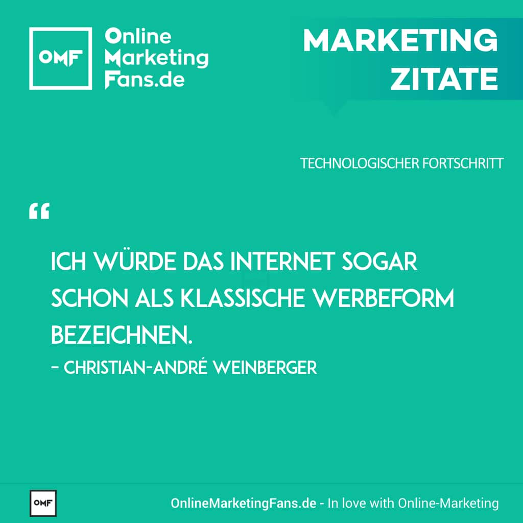 Marketingzitate - Christian-Andre Weinberger - Werbung im Internet - Technologischer Fortschritt