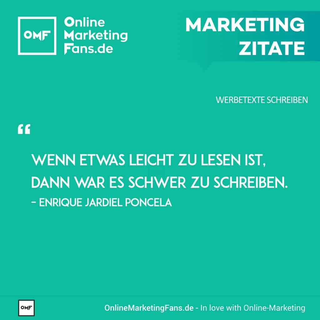 Marketingzitate - Enrique Jardiel Poncela - Leicht zu schreiben - Copywriting Werbetexte