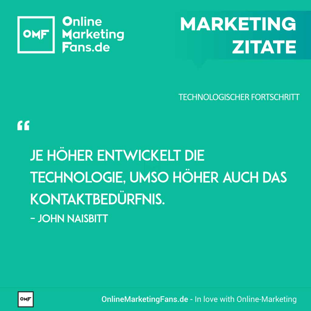 Marketingzitate - John Naisbitt - Digitale Vereinsamung - Technologischer Fortschritt