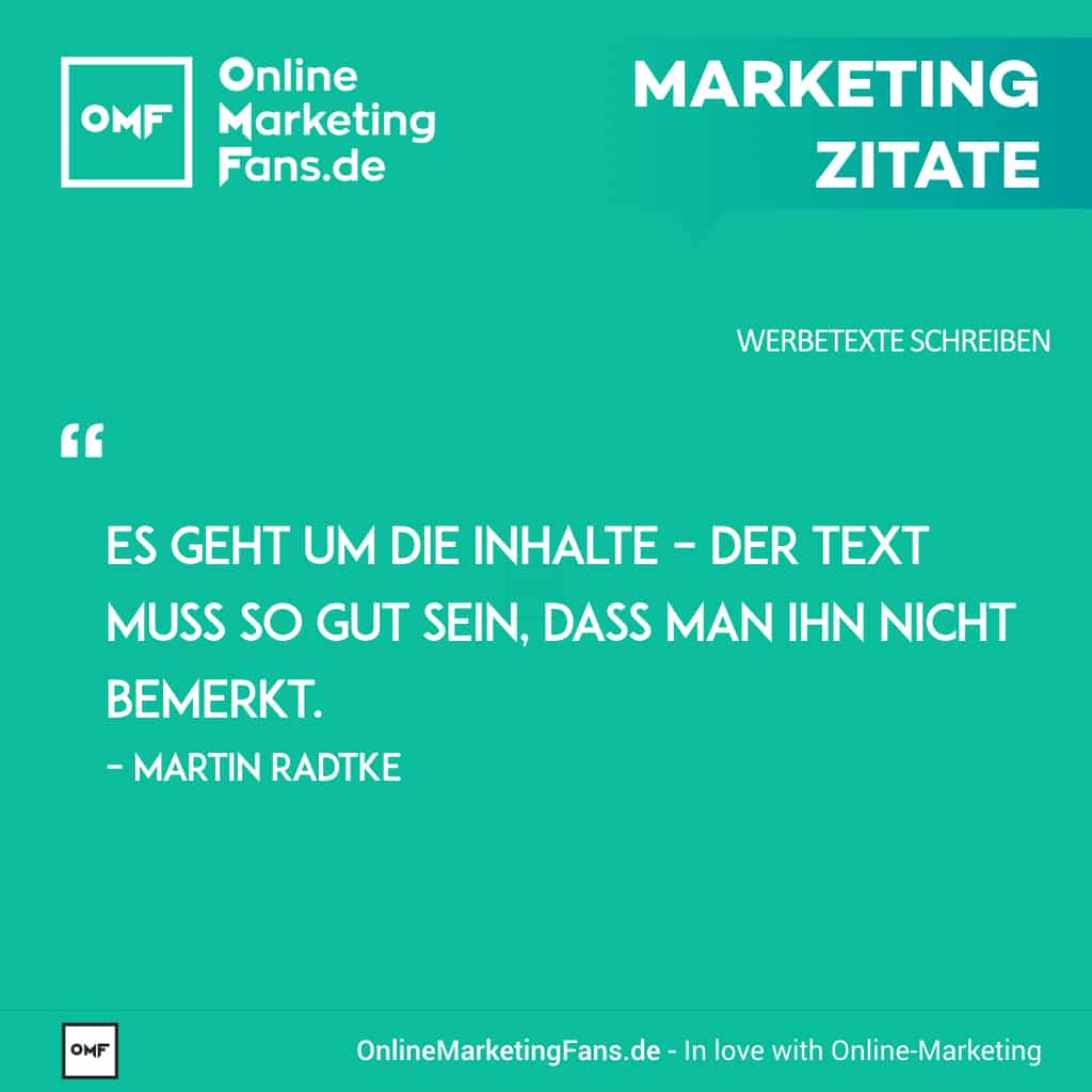 Marketingzitate - Martin Radtke - Textinhalte - Copywriting Werbetexte