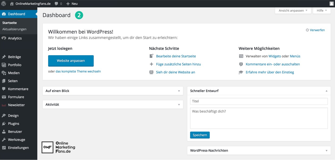 Dashboard WordPress German - Plugins installieren Tutorial