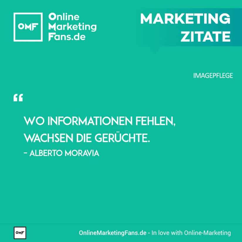 Marketing Zitate - Alberto Moravio - Enstehung von Geruechten - Imagepflege