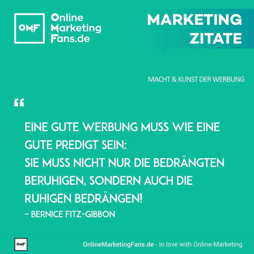 Marketing Zitate Sprueche - Bernice Fitz-Gibbon - Predigt - Macht der Werbung
