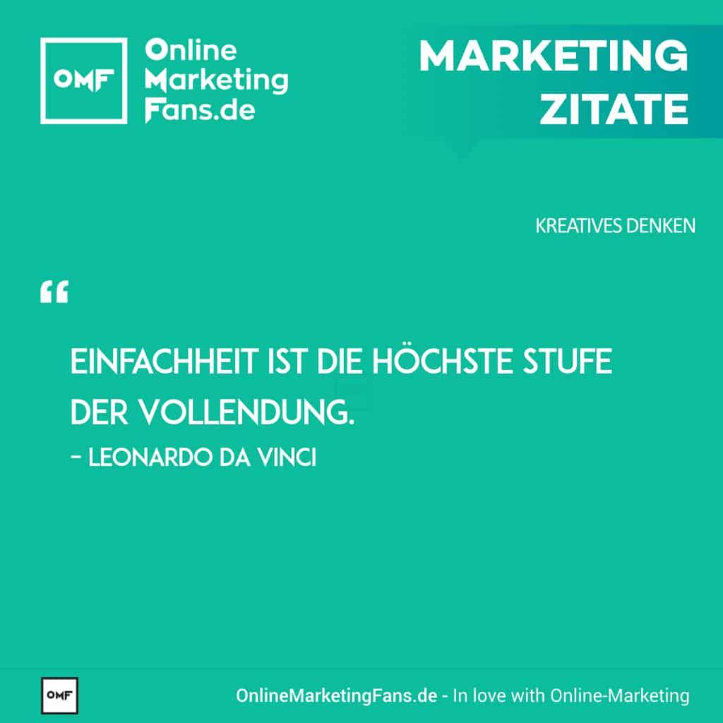 Marketing Zitate Sprueche - Leonardo da Vinci - Einfachheit und Vollendung - Kreatives Denken im Onlinemarketing