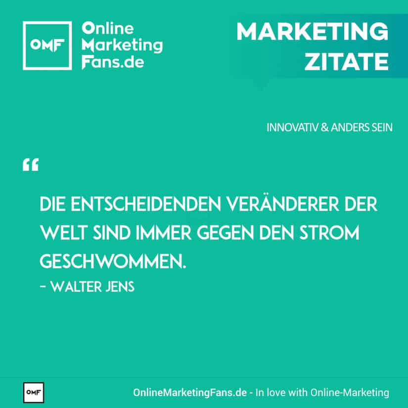Marketing Zitate - Walter Jens - Gegen den Strom - Innovativ sein