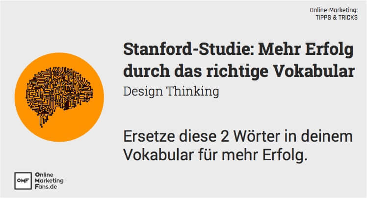 Online-Marketing - 2 Woerter Tipps Tricks fuer mehr Erfolg - Design Thinking Stanford Prof. Roth