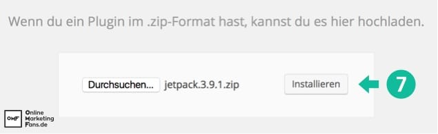 ZIP Plugin installieren anklicken - Plugin installieren WordPress
