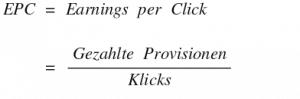 Earnings per Click EPC Rechnen - Formel